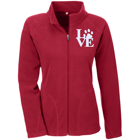 Love Paw Wht Embroidered - TT90W Team 365 Ladies' Microfleece Scarlet Red X-Small - Little Pit Shop