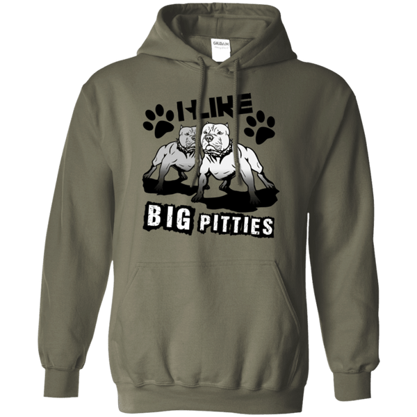 I Like Big Pitties Drk - G185 Gildan Pullover Hoodie 8 oz. Military Green Small - Little Pit Shop