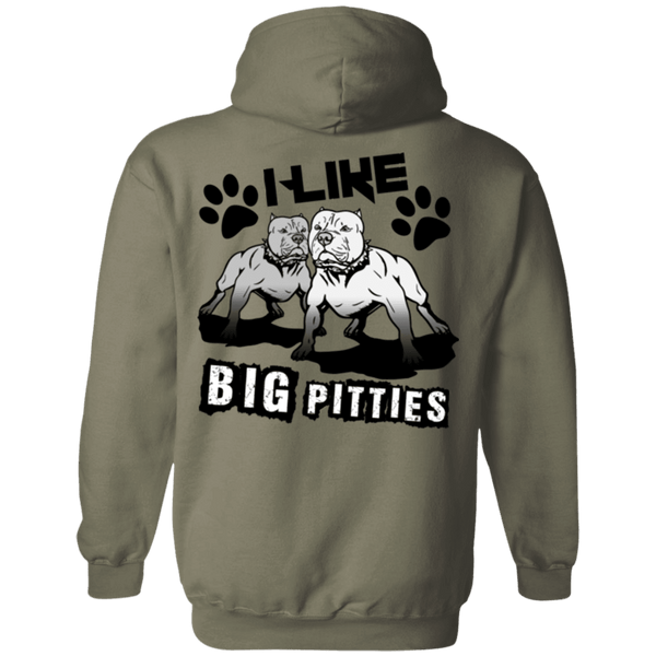 I Like Big Pitties Back Print Drk - G185 Gildan Pullover Hoodie 8 oz. Military Green Small - Little Pit Shop
