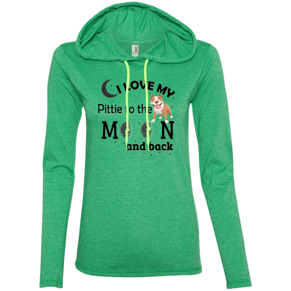 I Love My Pittie - 887L Anvil Ladies' LS T-Shirt Hoodie Heather Green/Neon Yellow Small - Little Pit Shop