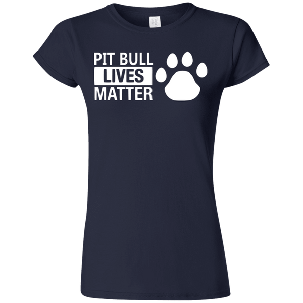 Pit Bull Lives Matter - G640L Gildan Softstyle Ladies' T-Shirt Dark Navy Small - Little Pit Shop