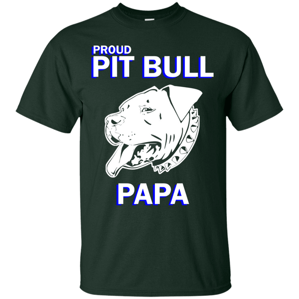 Proud Pit Bull Papa Dk - G200 Gildan Ultra Cotton T-Shirt Forest Green Small - Little Pit Shop