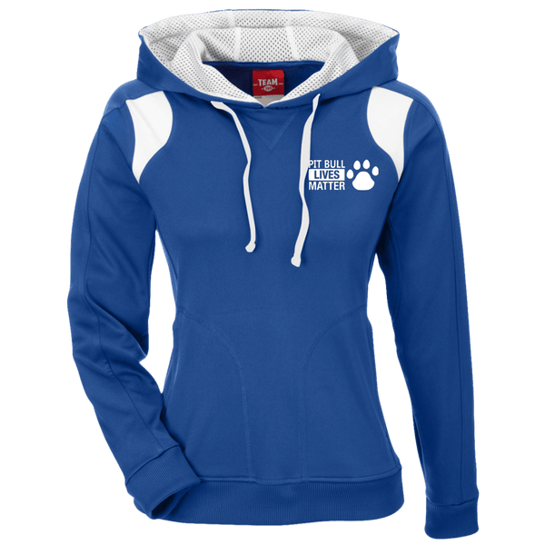 Pit Bull Lives Matter - TT30W Team 365 Ladies' Colorblock Poly Hoodie By Little Pit Shop Royal/White X-Small - Little Pit Shop