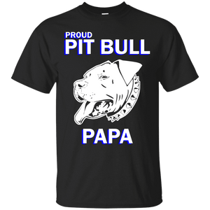 Proud Pit Bull Papa Dk - G200 Gildan Ultra Cotton T-Shirt Black Small - Little Pit Shop