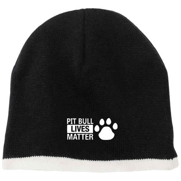 Pit Bull Lives Matter- CP91 100% Acrylic Beanie by Little Pit Shop Black/Natural One Size - Little Pit Shop