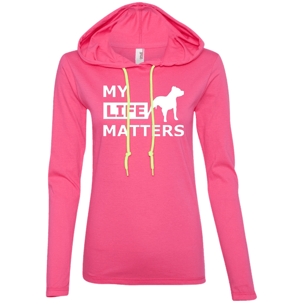 My Life Matters - 887L Anvil Ladies' LS T-Shirt Hoodie Hot Pink/Neon Yellow Small - Little Pit Shop