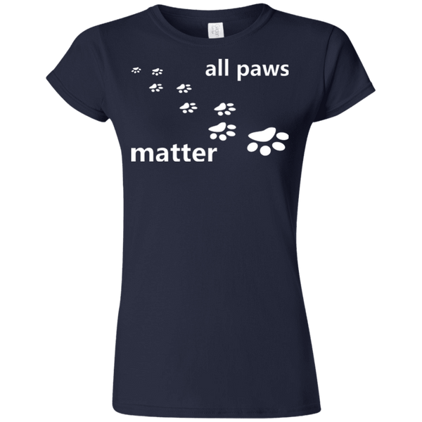 All Paws Matter - G640L Gildan Softstyle Ladies' T-Shirt Dark Navy Small - Little Pit Shop