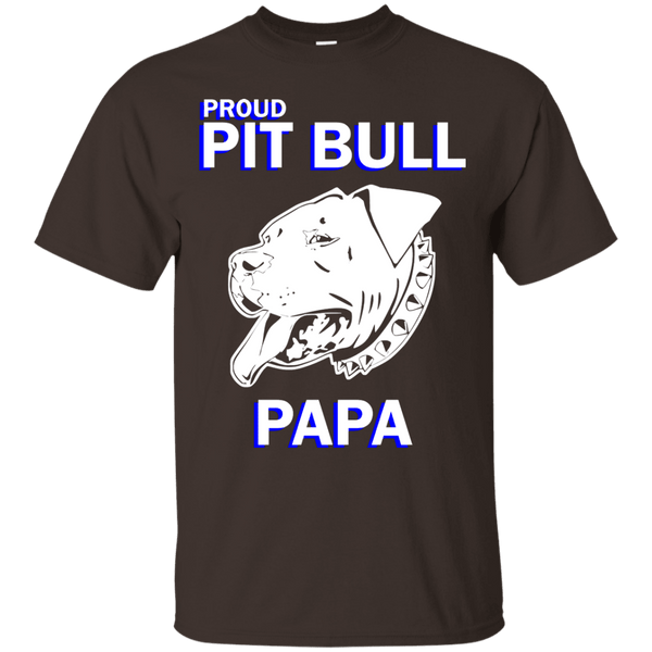 Proud Pit Bull Papa Dk - G200 Gildan Ultra Cotton T-Shirt Dark Chocolate Small - Little Pit Shop