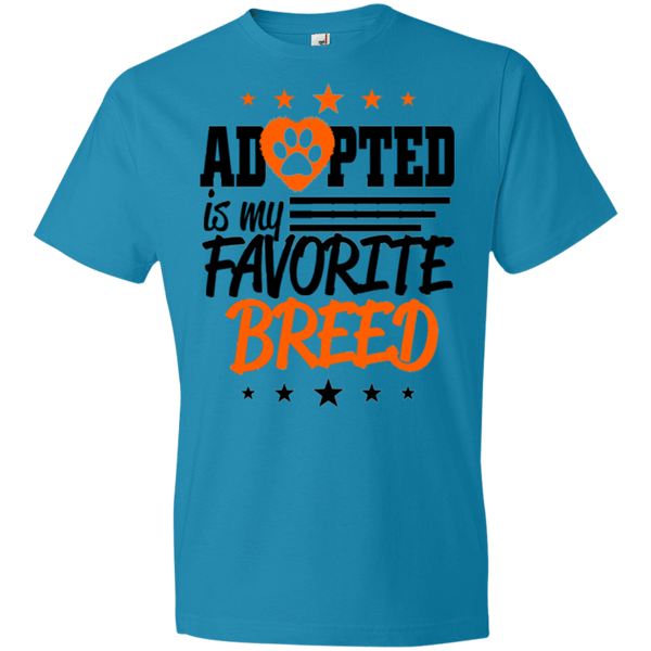 Adopted is My Favorite Breed - 990B Anvil Youth Lightweight T-Shirt 4.5 oz Caribbean Blue YXS - Little Pit Shop