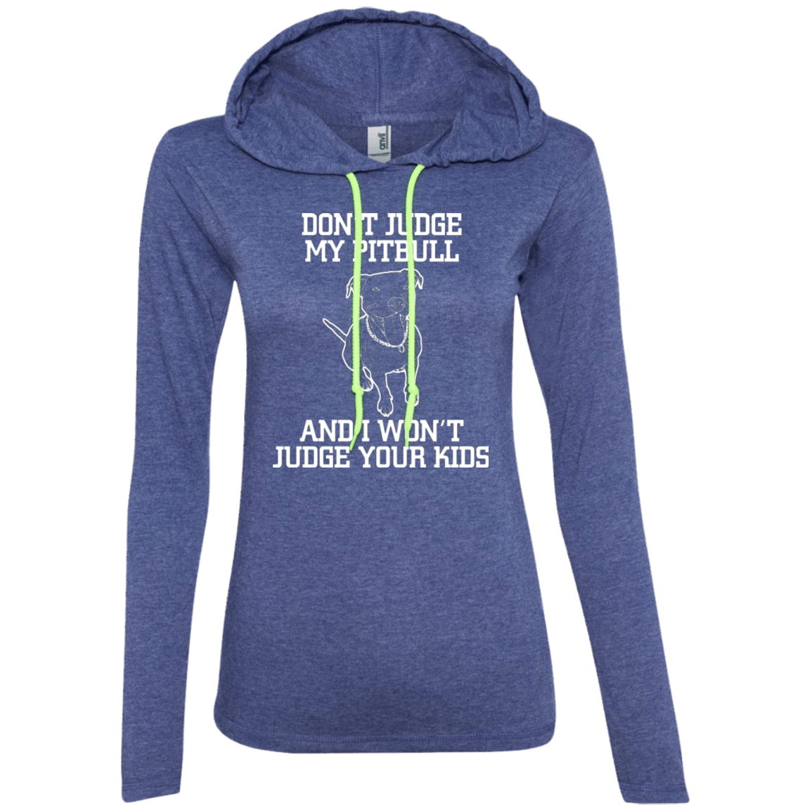 Don't Judge - 887L Anvil Ladies' LS T-Shirt Hoodie Heather Blue/Neon Yellow Small - Little Pit Shop