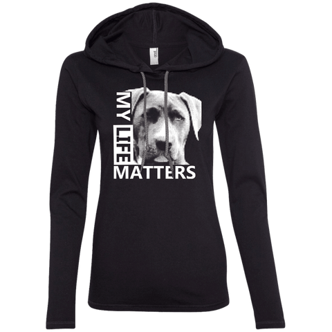 My Life Matters - 887L Anvil Ladies' LS T-Shirt Hoodie Black/Dark Grey Small - Little Pit Shop