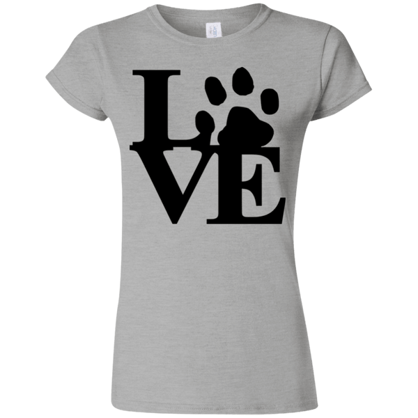 Love Paw - G640L Gildan Softstyle Ladies' T-Shirt Light Sport Grey Small - Little Pit Shop