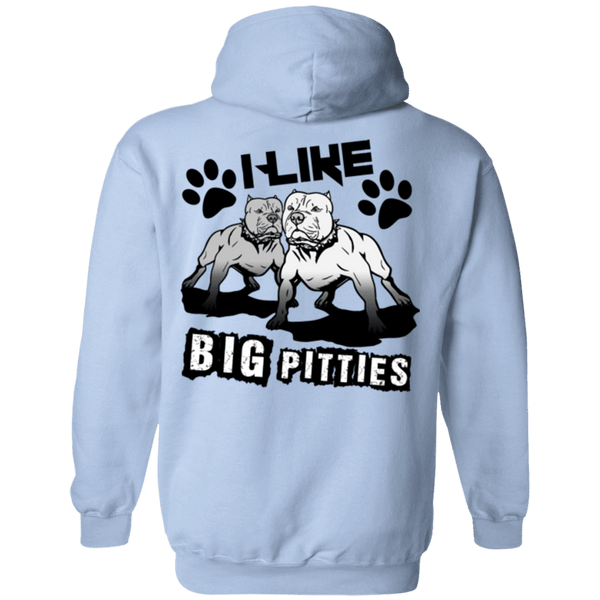 I Like Big Pitties Back Print Drk - G185 Gildan Pullover Hoodie 8 oz. Light Blue Small - Little Pit Shop