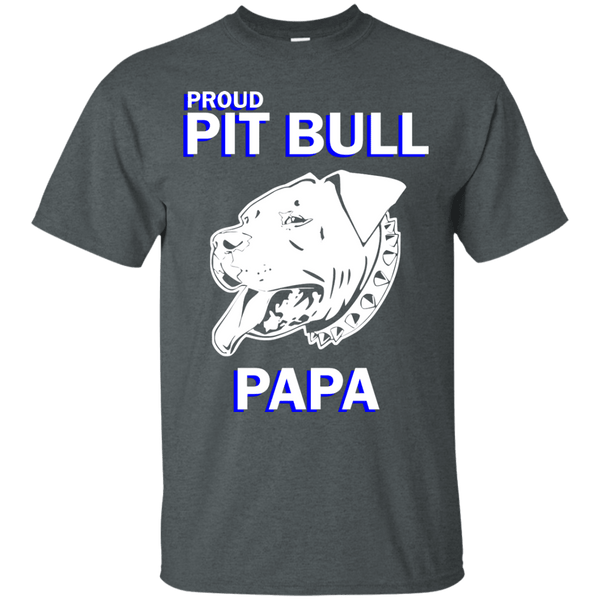 Proud Pit Bull Papa Dk - G200 Gildan Ultra Cotton T-Shirt Dark Heather Small - Little Pit Shop