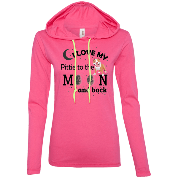 I Love My Pittie - 887L Anvil Ladies' LS T-Shirt Hoodie Hot Pink/Neon Yellow Small - Little Pit Shop