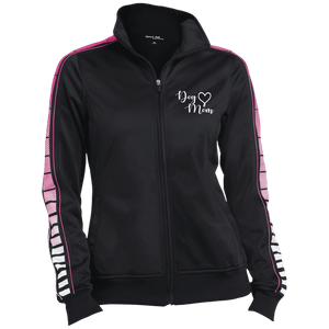 Dog Mom Wht Prnt - LST93 Sport-Tek Ladies' Dot Print Warm Up Jacket Black/Pink Raspberry X-Small - Little Pit Shop
