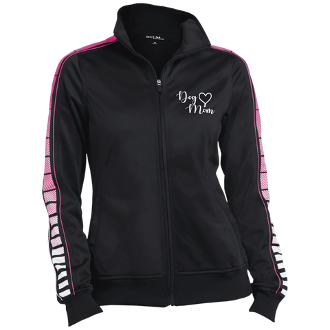 Dog Mom Wht Prnt - LST93 Sport-Tek Ladies' Dot Print Warm Up Jacket, Warm Ups | Pit Bull T Shirts, Hoodies and more | Little Pit Shop
