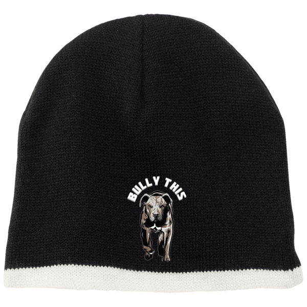 Bully This! - CP91 100% Acrylic Beanie by Little Pit Shop Black/Natural One Size - Little Pit Shop