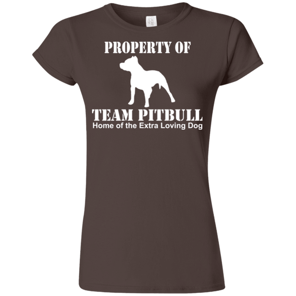 Team Pit Bull - G640L Gildan Softstyle Ladies' T-Shirt Dark Brown Small - Little Pit Shop