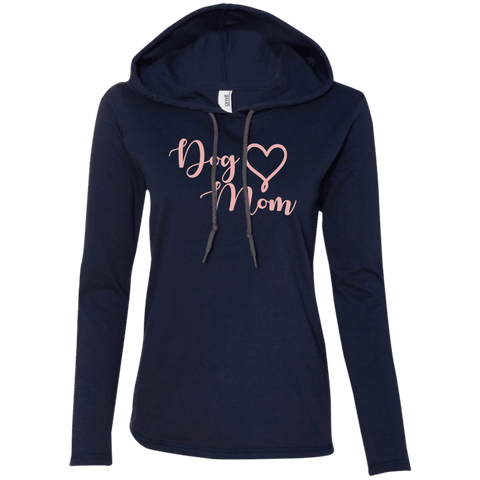 Dog Mom Pink Text - 887L Anvil Ladies' LS T-Shirt Hoodie Navy/Dark Grey Small - Little Pit Shop