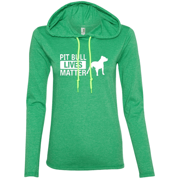 Pit Bull Lives Matter -887L Anvil Ladies' LS T-Shirt Hoodie Heather Green/Neon Yellow Small - Little Pit Shop