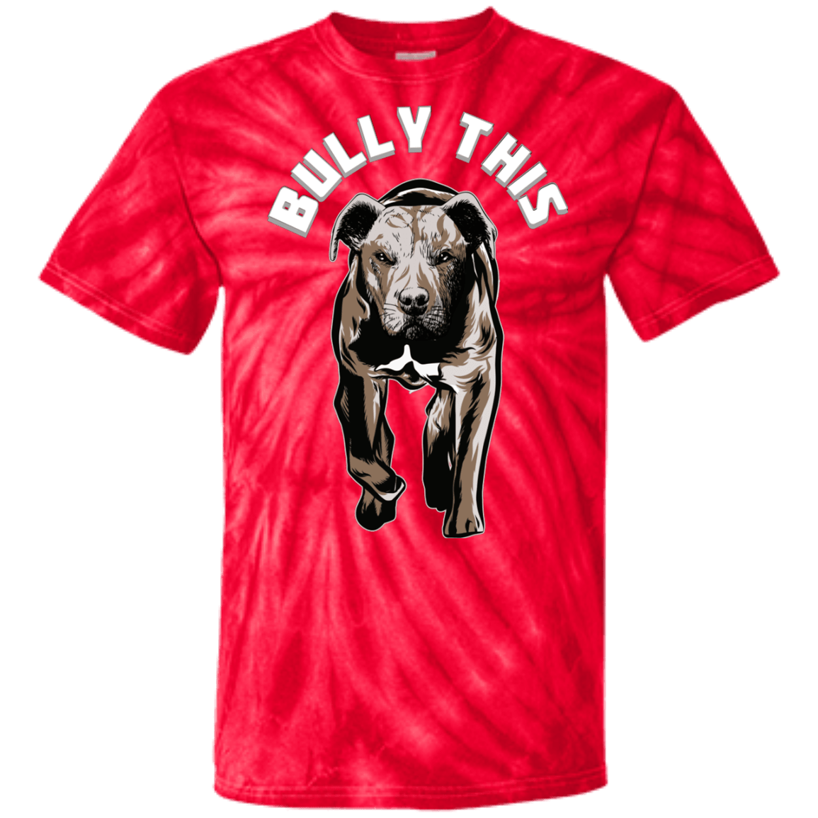 Bully This! - CD100 100% Cotton Tie Dye T-Shirt Spider Red Small - Little Pit Shop