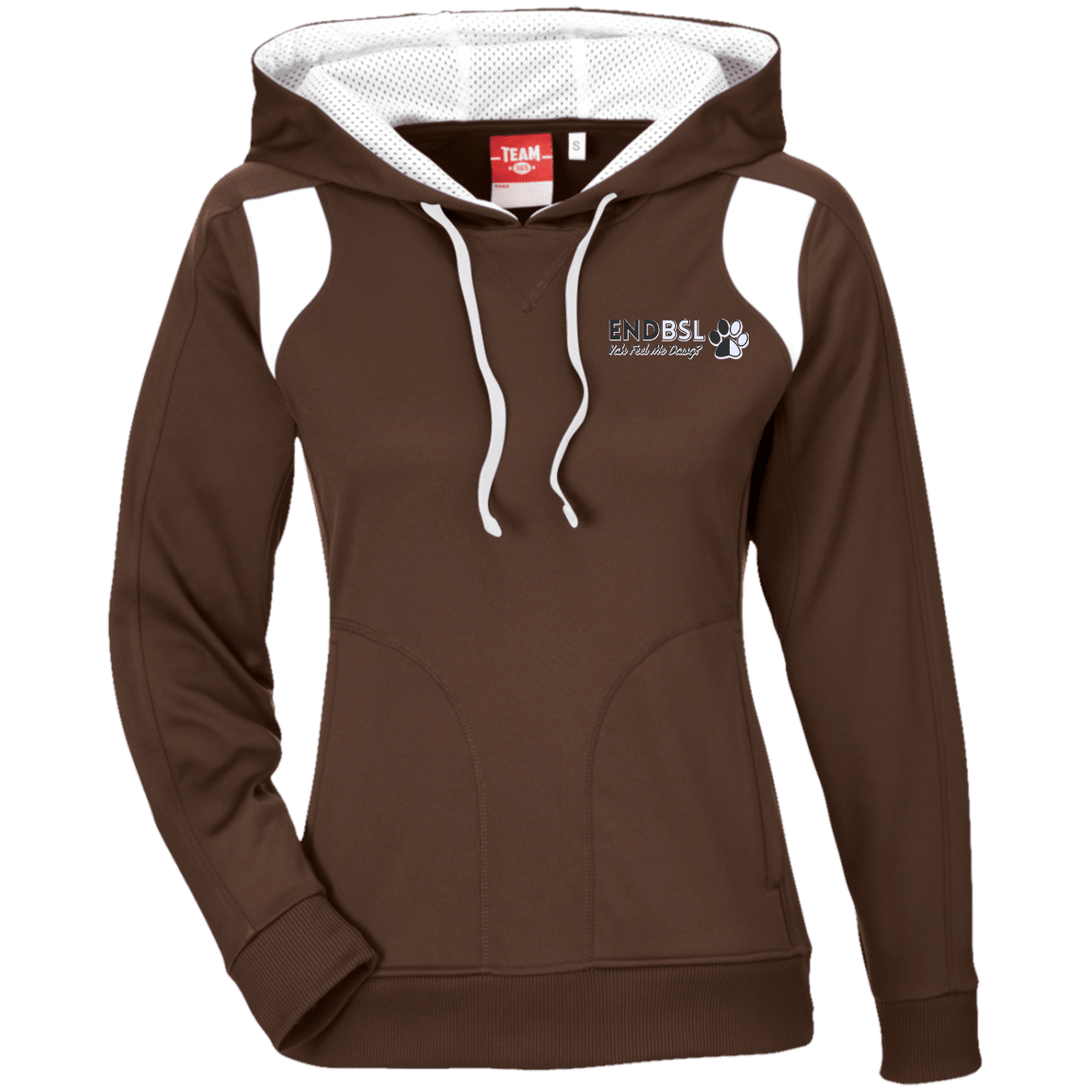 End BSL Embroidered - TT30W Team 365 Ladies' Colorblock Poly Hoodie By Little Pit Shop Brown/White X-Small - Little Pit Shop