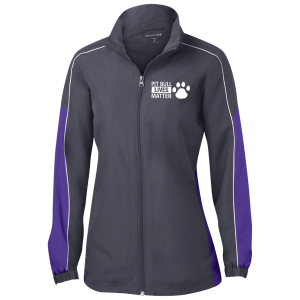Pit Bull Lives Matter - LST61 Sport-Tek Ladies' Piped Colorblock Windbreaker by Little Pit Shop Graphite/Purple/White X-Small - Little Pit Shop