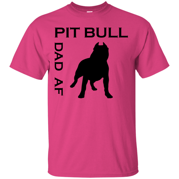 Pit Bull Dad AF - G200 Gildan Ultra Cotton T-Shirt Heliconia Small - Little Pit Shop