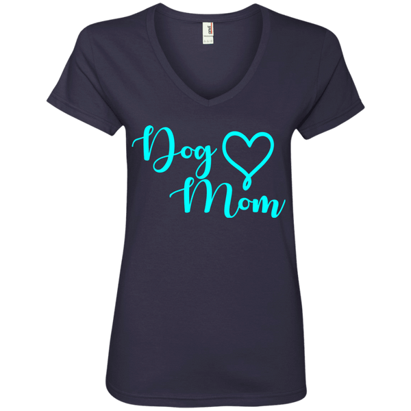 Dog Mom Teal Text - 88VL Anvil Ladies' V-Neck T-Shirt Navy Small - Little Pit Shop