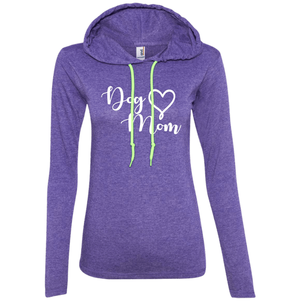 Dog Mom White Text - 887L Anvil Ladies' LS T-Shirt Hoodie Heather Purple/Neon Yellow Small - Little Pit Shop