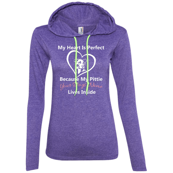 My Heart Is Perfect - Personalized - 887L Anvil Ladies' LS T-Shirt Hoodie Heather Purple/Neon Yellow Small - Little Pit Shop