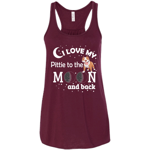 I Love My Pittie To The Moon! - B8800 Bella + Canvas Flowy Racerback Tank Maroon X-Small - Little Pit Shop