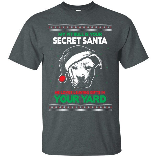 Secret Santa - G200 Gildan Ultra Cotton T-Shirt by Little Pit Shop Dark Heather Small - Little Pit Shop