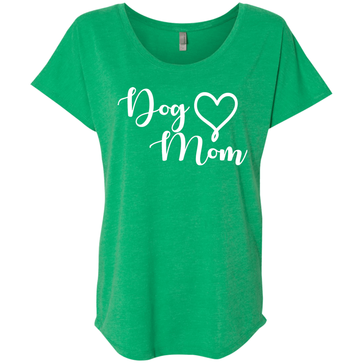 Dog Mom White Text - NL6760 Next Level Ladies' Triblend Dolman Sleeve Envy X-Small - Little Pit Shop