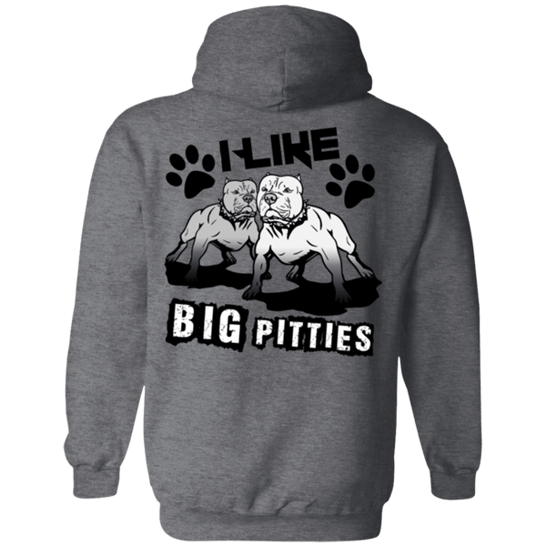 I Like Big Pitties Back Print Drk - G185 Gildan Pullover Hoodie 8 oz. Dark Heather Small - Little Pit Shop