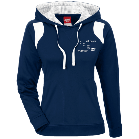 All Paws Matter - TT30W Team 365 Ladies' Colorblock Poly Hoodie By Little Pit Shop Dark Navy/White X-Small - Little Pit Shop