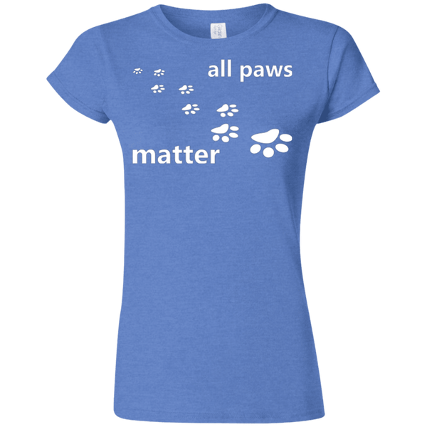 All Paws Matter - G640L Gildan Softstyle Ladies' T-Shirt Dark Heather Royal Small - Little Pit Shop