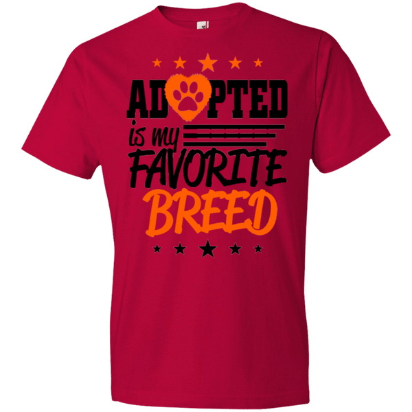Adopted is My Favorite Breed - 990B Anvil Youth Lightweight T-Shirt 4.5 oz Red YXS - Little Pit Shop