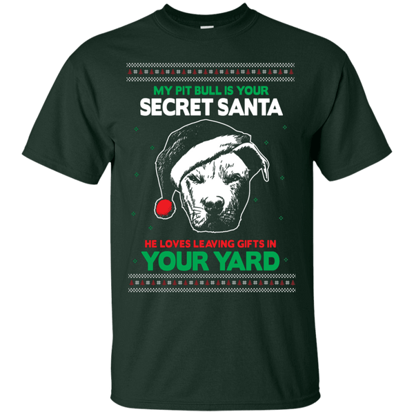 Secret Santa - G200 Gildan Ultra Cotton T-Shirt by Little Pit Shop Forest Green Small - Little Pit Shop