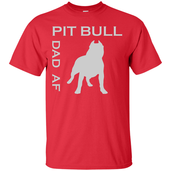 Pit Bull Dad AF - G200 Gildan Ultra Cotton T-Shirt Red Small - Little Pit Shop