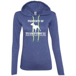 Team Pit Bull - 887L Anvil Ladies' LS T-Shirt Hoodie Heather Blue/Neon Yellow Small - Little Pit Shop