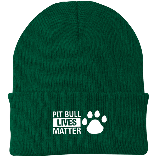 Pit Bull Lives Matter - CP90 Port Authority Knit Cap by Little Pit Shop Athletic Green One Size - Little Pit Shop