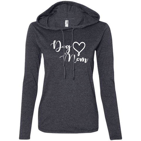 Dog Mom White Text - 887L Anvil Ladies' LS T-Shirt Hoodie Heather Dark Grey/Dark Grey Small - Little Pit Shop