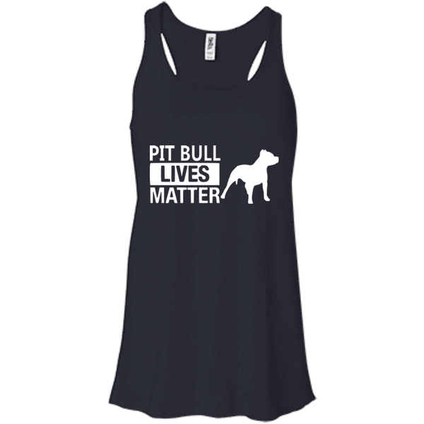Pit Bull Lives Matter - B8800 Bella + Canvas Flowy Racerback Tank Midnight X-Small - Little Pit Shop