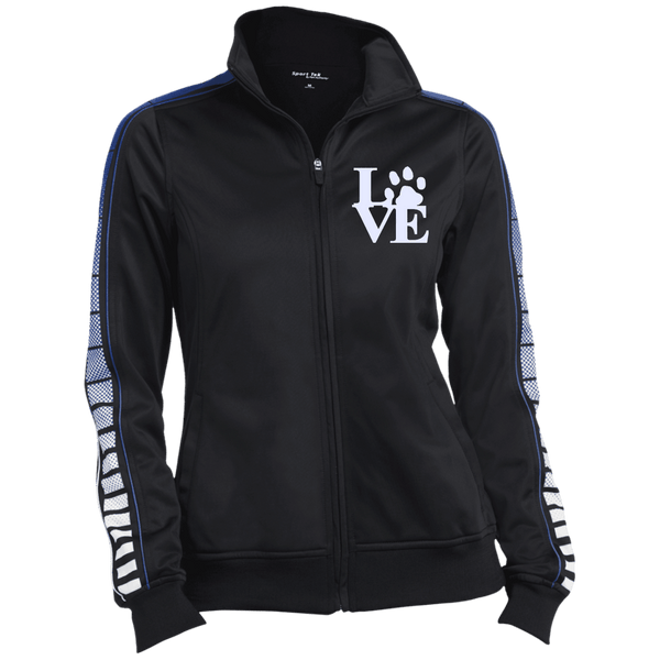 Love Paw Wht Embroidered - LST93 Sport-Tek Ladies' Dot Print Warm Up Jacket Black/True Royal X-Small - Little Pit Shop