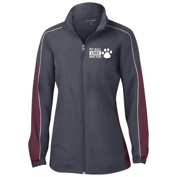 Pit Bull Lives Matter - LST61 Sport-Tek Ladies' Piped Colorblock Windbreaker by Little Pit Shop Graphite/Maroon/White X-Small - Little Pit Shop