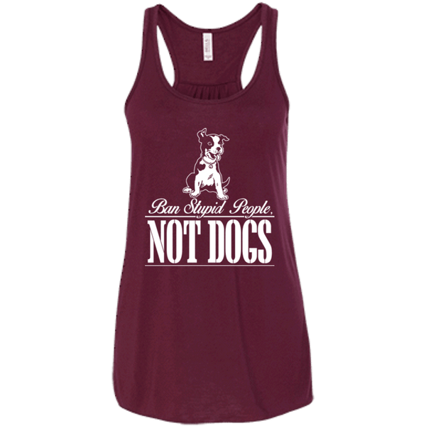 Ban Stupid People - B8800 Bella + Canvas Flowy Racerback Tank Maroon X-Small - Little Pit Shop