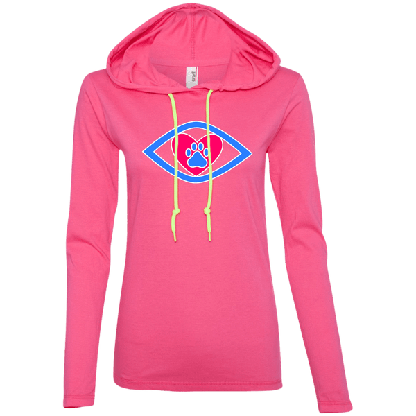 Eye-Heart-Paw - 887L Anvil Ladies' LS T-Shirt Hoodie Hot Pink/Neon Yellow Small - Little Pit Shop