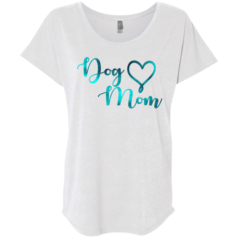 Dog Mom Teal Noise - NL6760 Next Level Ladies' Triblend Dolman Sleeve Heather White X-Small - Little Pit Shop